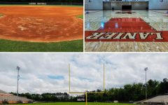 Pictures of the football field, softball field, and basketball court