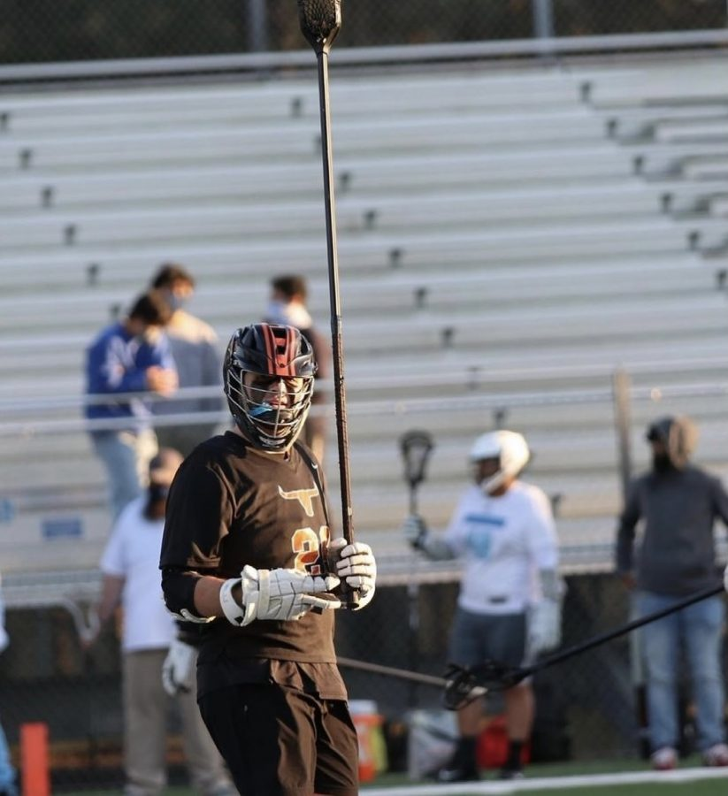 Joey Graham playing a Lacrosse game.